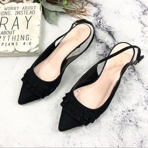 kate spade slingback pointed toe ruffle heels